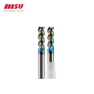 DLC Coating Square End Mill For Aluminium Alloys  45° Helix Mirror Surface Milling