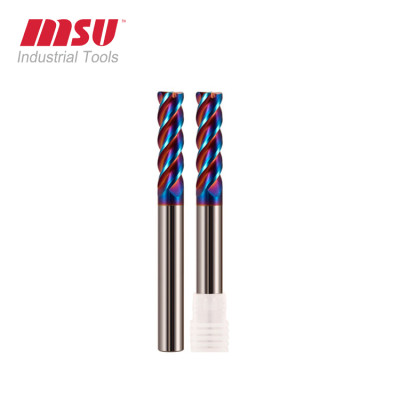 Extra long reach corner radius end mills for stainless steel HRC65