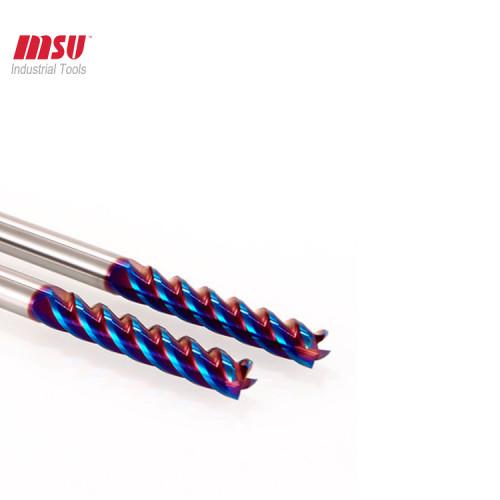 HRC65 4 Flute Flat Extra Long Flute Carbide End Mills -Nano Coated