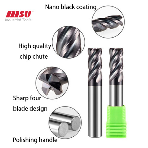 HRC60 4F Carbide Bull Nose End Mill For End Mill Cutter for Steels, Tool Steels, Cast Iron, & Titanium