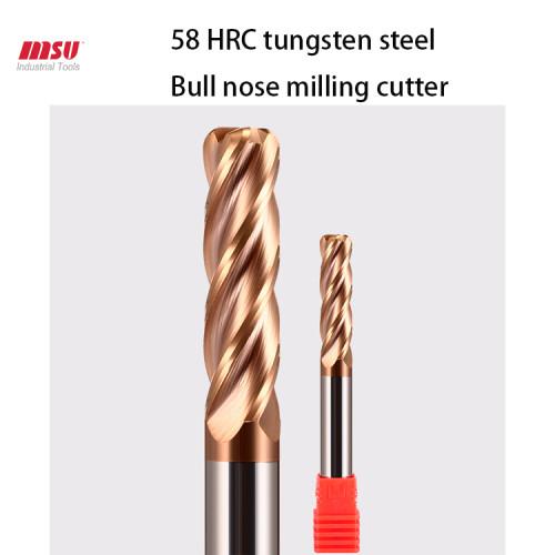 MSU HRC58 Extra Long Carbide Bull Nose End Mill 4 Flute