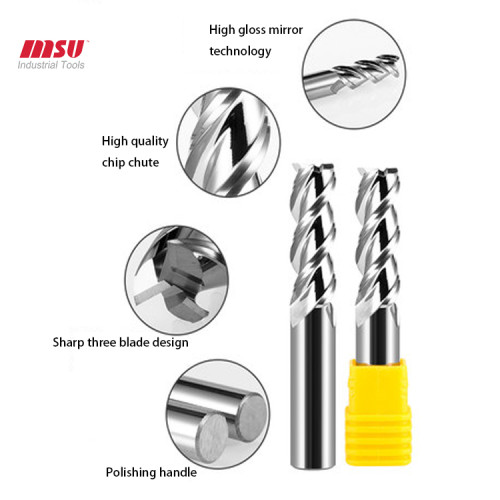 MSU HRC58 3Flute Uncoated Solid Carbide End Mill For Aluminium