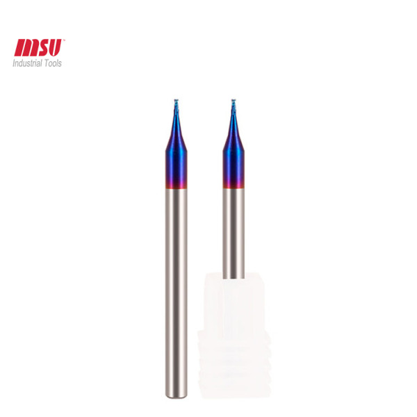 2 Flute HRC65 Carbide Micro End Mill Tungsten Steel Milling Cutter For Three Nano Blue Coating