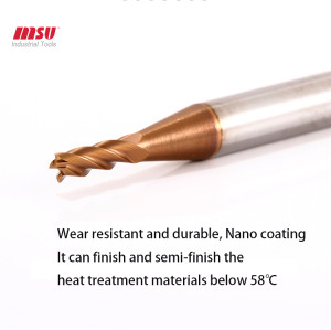 HRC58 4 Flute Variable Shank Cemented Carbide Micro Milling Cutter Tungsten Steel Alloy