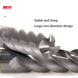 Extra Long Carbide Square End Mill - Micro Grain Carbide End Mill for Stainless Steel/Alloy Steels/Hardened Steels - 4 Flute