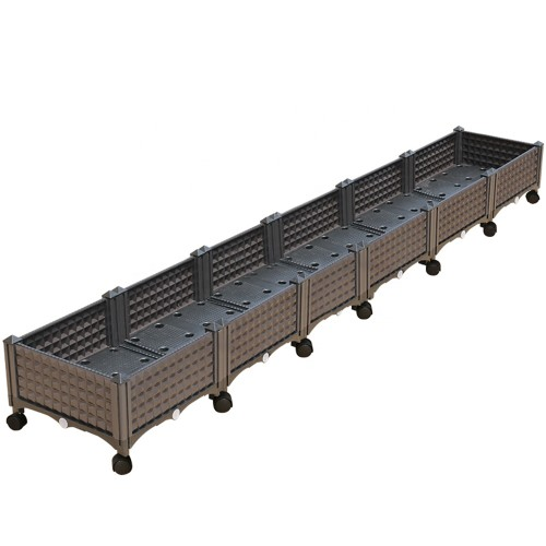 Six boxes elevated large rectangular plastic planter