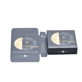 high end golden card paper cosmetic pressed powder compacts packaging box with pearl varnish