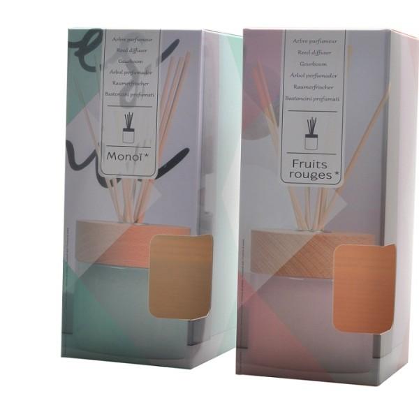 Imballaggio decorativo decorativo della scatola del diffusore a lamella inferiore con laminazione lucida e finestra fustellata
