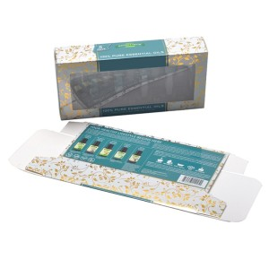 Eco-friendly art paper beauty box cosmetics for essential oil with PVC window and insert