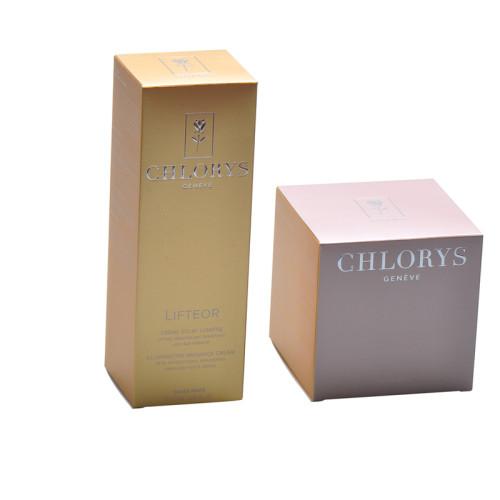 Scatola d'imballaggio di cura della pelle di carta dorata di vendita calda su ordinazione con foglio d'argento e logo in rilievo