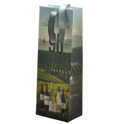 Fashion and luxury printed logo coated paper wine bags packaging with twisted cotton and ribbon handle