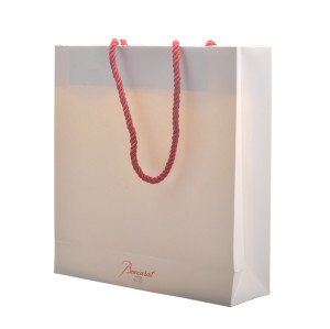 Beautiful Charming  coated paper white paper bags wholesale with chinese special cotton rope