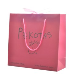 Customized pink l gloss varnish art paper shopping bags with ribbon and cotton handle