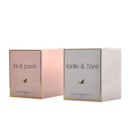 Luxury design coated paper automatic bottom candle packaging supplies with hot stamping logo