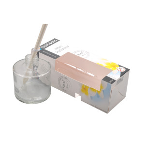 Beautiful Charming custom coated paper reed diffuser candle packaging with PVC window
