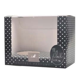 Fashionable black dot design decorative candle boxes with PVC window and paper insert