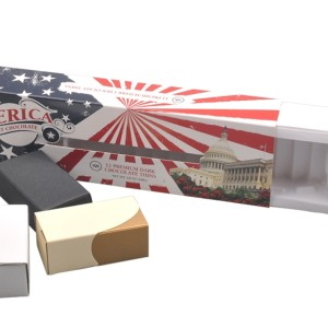 Customized America style personalised window chocolate boxes with paper insert and plastic tray