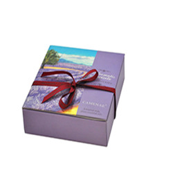 high quality elegant purple decorative book shaped cosmetic box company with ribbon