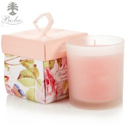 Beautiful Charming  lid and base coated paper candle packaging with ribbon handle