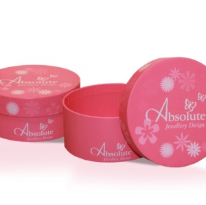 Pink round lid and base cardboard jewelry box with jewelry with matt lamination