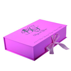 Hot Sale Pink rigid cardboard cosmetic packaging wholesale with ribbon handle