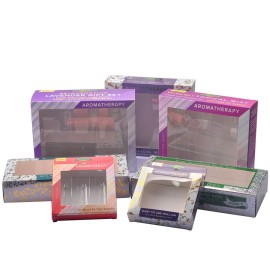 New Design art paper custom cosmetic packaging supplier with PVC window and insert