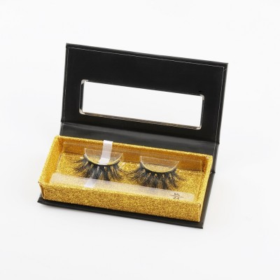 Natural Long False Eyelashes with Custom Eyelash Packaging 25mm strip eyelash