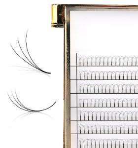 0.07mm 0.1mm Ventiladores prefabricados pestañas pestañas largas raíces falsas pestañas muestras
