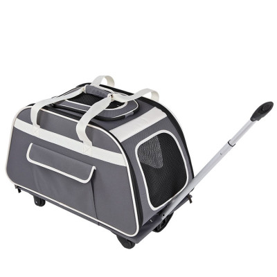Grey Rolling Pet Trolley Carrier Bag with Removeable Wheels