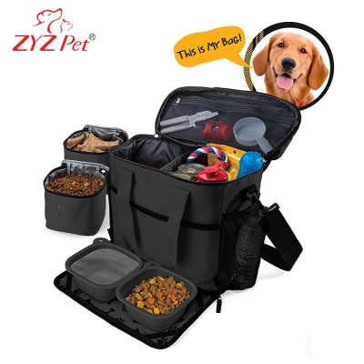 Eco-friendly foldable pet carrier cat tote bag dog travel bag with bowl