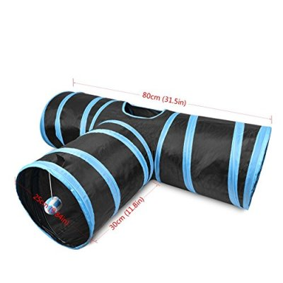ZYZpet 3 Way Collapsible Play Pet Cat Tunnel Toys