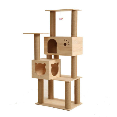 House Furniture Cat Tree Wooden With Hammock