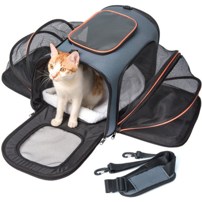 Expansion Travel Foldable Soft Side Cats Dogs Small Pet Tote Bag Carrier