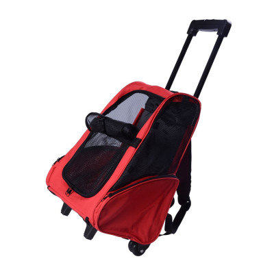 Expandable Pet Travel Backpack Dog Trolley Bag Carrier With Wheels