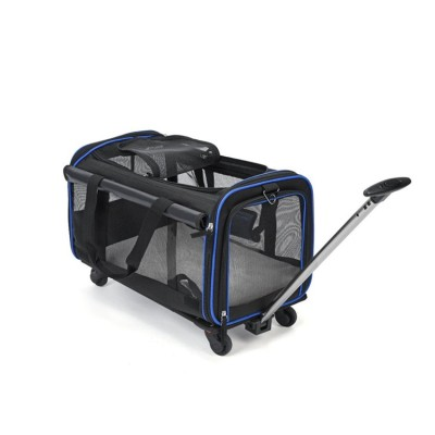 Airline Approved Mesh Pet Dog Travel Trolley Handbag Bag Carrier With Wheels