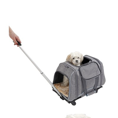 ZYZPet Breathable Zipper Pet Cat Dog Travel Tote Trolley Bag Carrier With Wheels