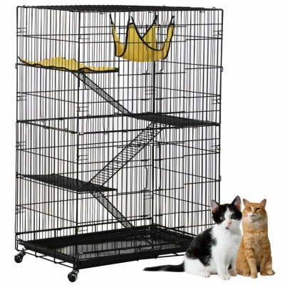 ZYZPET Deluxe Stainless Steel Pet Dog Cage With Wheels