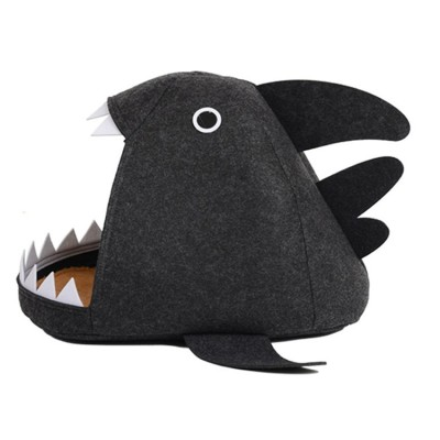 ZYZPet Custom New Design Four Seasons Washable Felt Shark Pet Cat Dog Bed For Pet