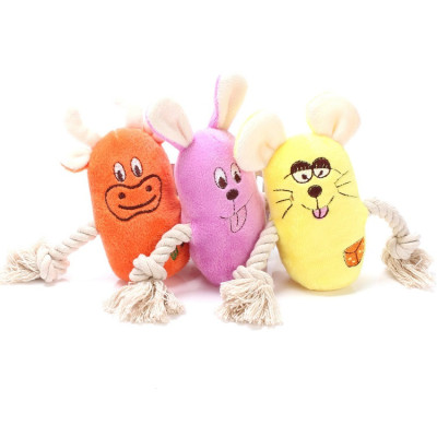 ZYZpet Cute Small Animal Dog Rope Toys Interactive Squeaky Chew Plush Pet Dog Toys