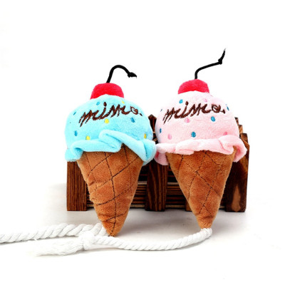 ZYZpet Ice Cream  Interactive Squeaky Chew Rope Plush Pet Dog Toys