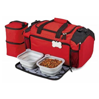 ZYZ PET Eco-Friendly Best Storage snack Food Toy Accessories kit luggage Small Pet bags Tote Cat Dog Travel Bag With Bowl