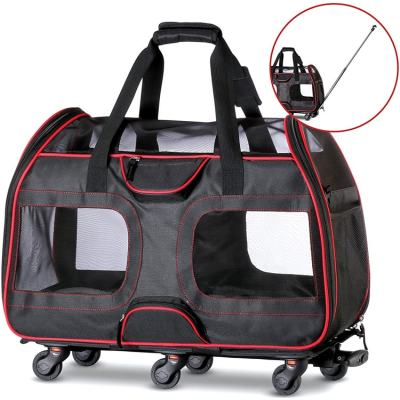 ZYZpet Large Super Soft Sided Hiking Stroller Trolley Rolling In On Wheels Dog Pet Carrier With Wheels