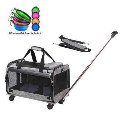 ZYZpet Airline Approved Best Large On Wheels Stroller Trolley Rolling Pet Dog Cat Carrier With Wheels
