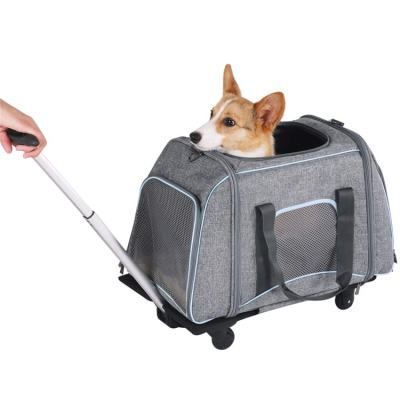 ZYZpet Airline Approved Travel Hiking Large Rolling Stroller Wheeled Cat Dog Pet Trolley Carrier With Wheels