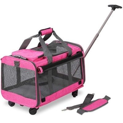 ZYZpet Airline Approved Tote Luggage Soft Sided Pink Cat Dog Pet Carrier With Detachable Wheels For Small And Medium Dogs Cats