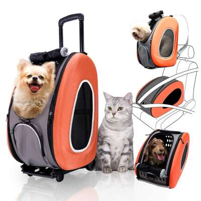 ZYZpetAirline Approved Best Large On Wheels Stroller Trolley Rolling Pet Carrier Backpack For Large Dogs