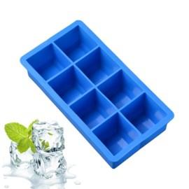 Bandeja de cubitos de hielo de 8 cavidades, cuadrada, de grado alimenticio