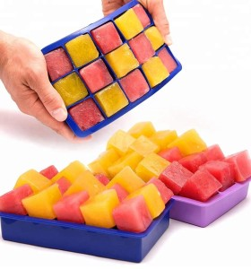 Custom 100% Food Grade Silicone 15 Cavity Ice Cream Tray Silicone Ice Cube Tray factory supplier