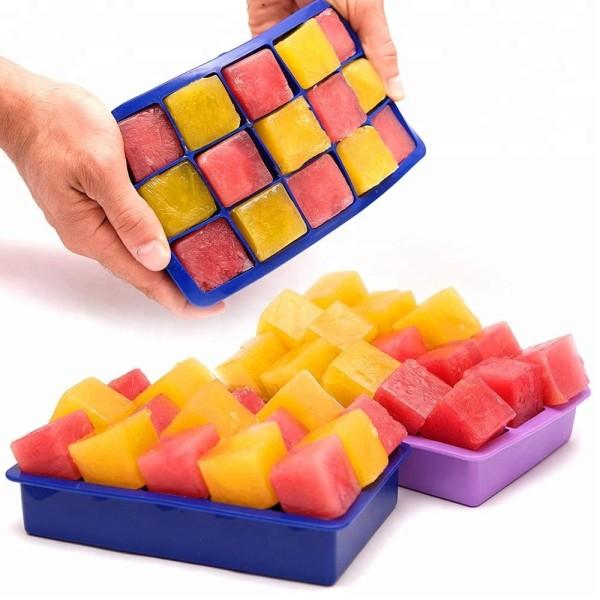 Custom 100% Food Grade Silicone 15 Cavity Ice Cream Tray Silicone Ice Cube Tray factory supplier