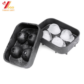 3D Skull Flexible Silicone Ice Cube Mold Tray, Makes Four Giant Ice Skulls, Round Ice Cube Maker